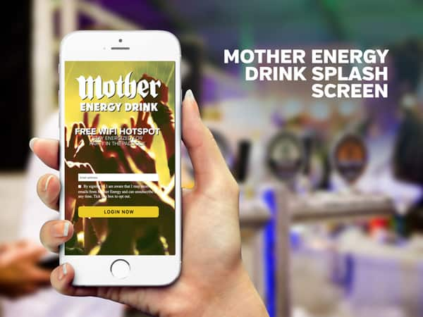 Mother Energy Drink Splash Screen | PopUp WiFi - Temporary Event WiFi
