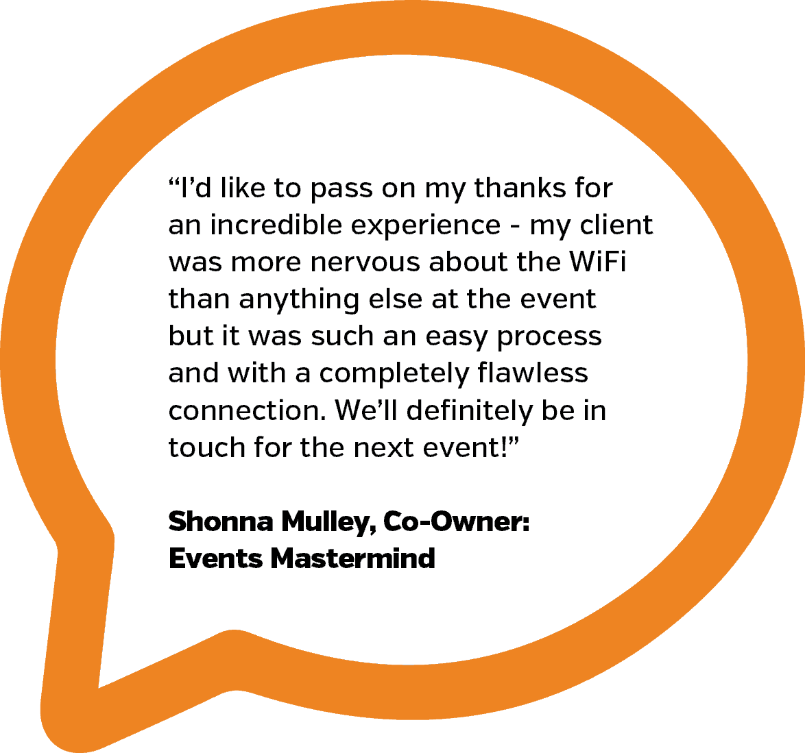 Events Mastermind Testimonial | PopUp WiFi - Temporary Event WiFi