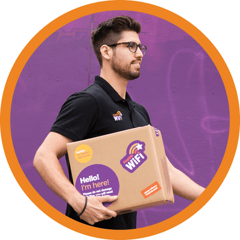 Image of man carrying PopUp WiFi box